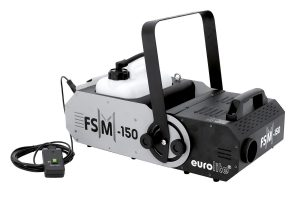 eorolite FSM-150 große Nebelmaschine mit schwenkbarem Kopf Geräteansicht Seitenansicht mit Kabelfernbedienung